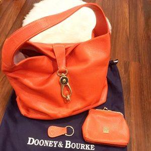 Dooney & Bourke Leather Hobo Orange Logo Lock